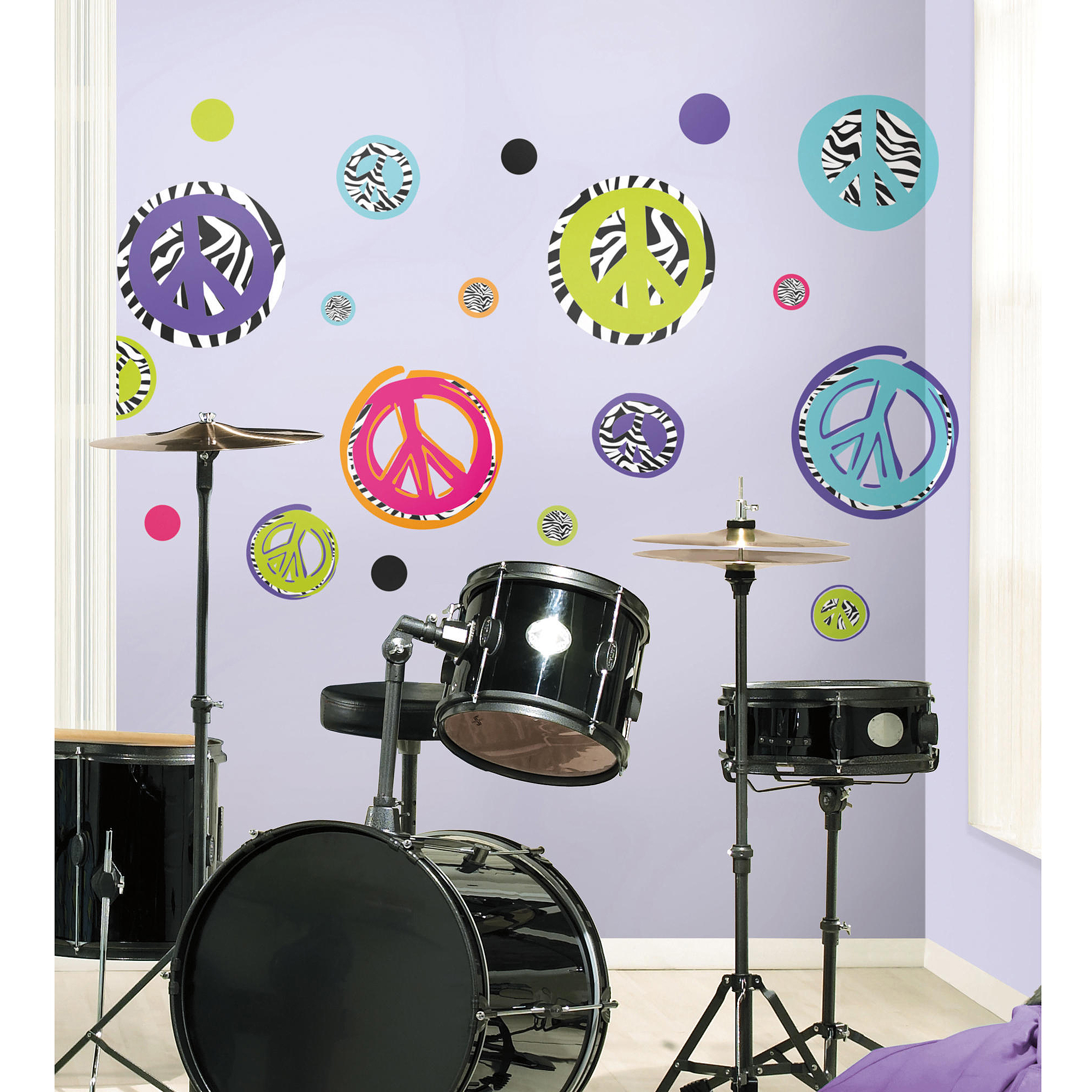 RoomMates Zebra Peace Signs Peel U0026 Stick Wall Decals   Walmart.com