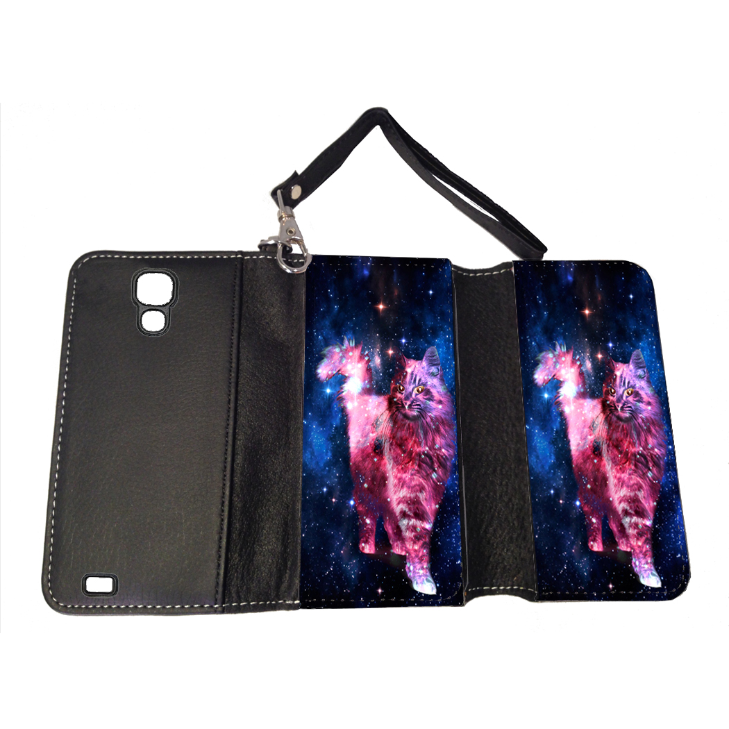 KuzmarK Samsung Galaxy S4 Wallet Handbag Case - Cat Nebula