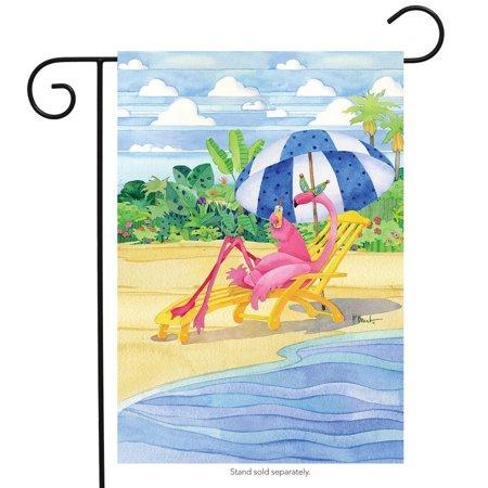 Flamingo Inn Summer Garden Flag Beach Scene Humor Cocktails 12.5