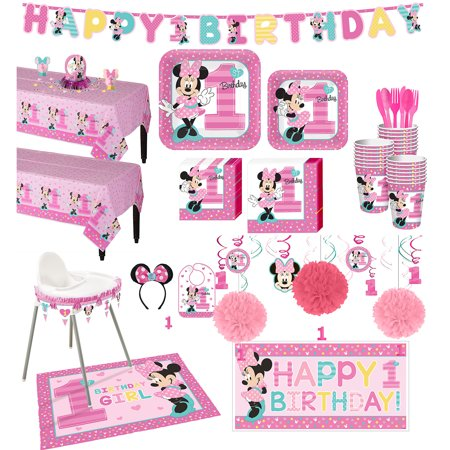 1st Birthday Minnie Mouse Deluxe Party Kit for 32 Guests, with Decorating Kits](Minnie Mouse Ears Party City)