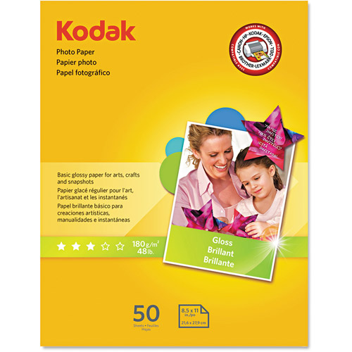 "Kodak Photo Paper, 6.5 mil, Glossy, 8-1/2"" x 11"", 50 Sheets/Pack"