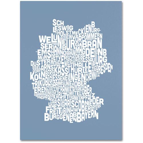 Trademark Art 'STEEL-Germany Regions Map' Canvas Art by Michael Tompsett