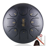 Meterk 6in Metal Tongue Drum Mini 8-Tone Hand Pan Drums with Drumsticks Percussion Musical Instruments