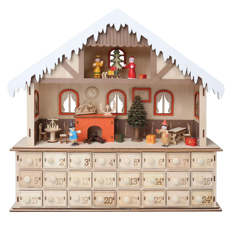 Led Lighted Santa S Workshop Wooden Advent Calendar 24 Opening