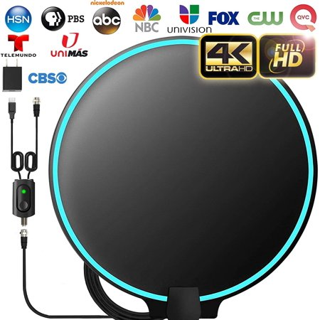 [Upgraded 2020] Amplified HD Digital TV Antenna Long 120+ Miles Range - Support 4K 1080p Fire tv Stick and All Older TV's Indoor Powerful HDTV Amplifier Signal Booster - 18ft Coax Cable