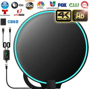 [Upgraded 2020] Amplified HD Digital TV Antenna Long 120+ Miles Range - Support 4K 1080p Fire tv Stick and All Older TV s Indoor Powerful HDTV Amplifier Signal Booster - 18ft Coax Cable