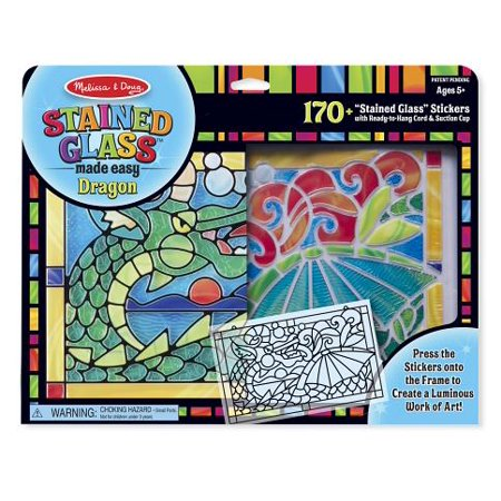 Melissa & Doug Stained Glass Made Easy Craft Kit: Dragon - 170+ - Stained Glass Cross Craft