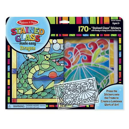 Melissa & Doug Stained Glass Made Easy Craft Kit: Dragon - 170+ Stickers - Easy Kids Christmas Crafts