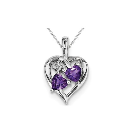 Purple Amethyst Heart Pendant Necklace in Sterling Silver 4/5 Carat (ctw)