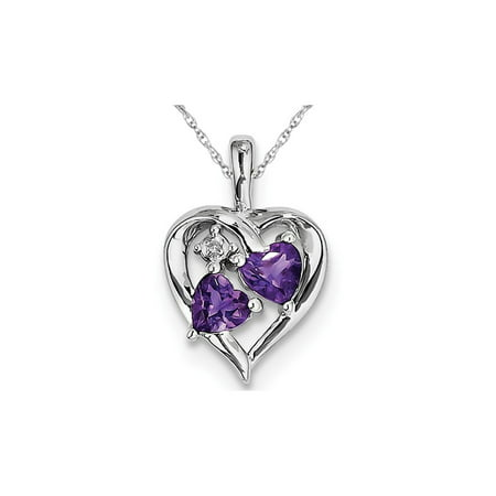 Purple Amethyst Heart Pendant Necklace in Sterling Silver 4/5 Carat -