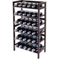 Winsome Wood Silvi 30-Bottle Wine Display Rack, Antique Walnut Finish