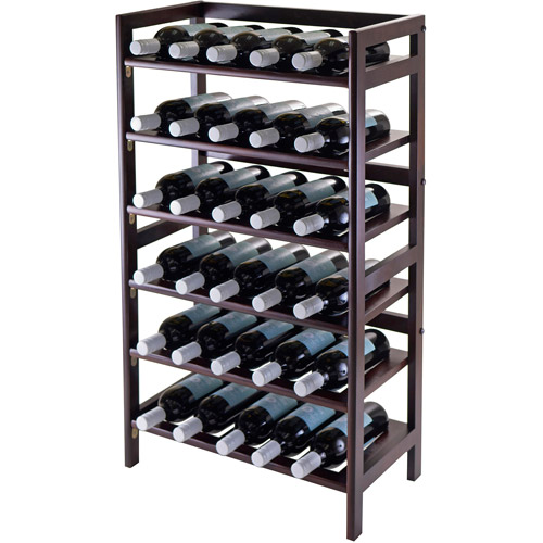 Winsome Wood Silvi 30-Bottle Wine Display Rack, Antique Walnut Finish