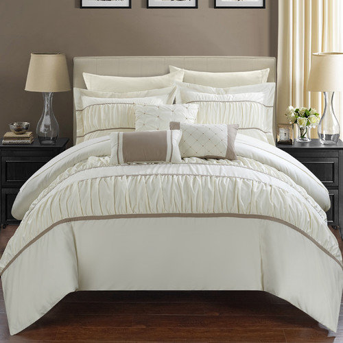 Chic Home Cheryl Pleated and Ruffled 10 Piece Bed in a Bag Set