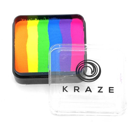 Halloween Rave Makeup (Kraze FX Domed Split Cake - Neon Rave (25 gm), Professional Face and Body Painting, Hypoallergenic, Safe and Non-Toxic, Child Friendly, Ideal for Fairs, Carnivals, Party and)