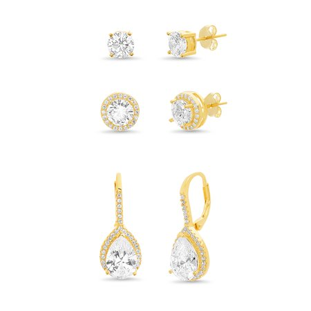 Inspired by You Pear and Round Shaped Prong Set Cubic Zirconia Halo Style Stud and Leverback Bridal Earring Set for Women in Yellow Gold Plated 925 Sterling