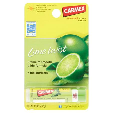 Carmex Lime Twist SPF 15 Baume à lèvres hydratant bâton, 0,15 oz (Paquet de 12)