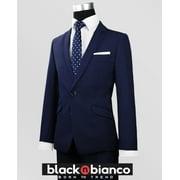 Black N BIanco Boys Signature Navy Slim Suit Five Piece Set