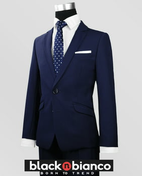 Black N BIanco Boys Signature Navy Slim Suit Five Piece Set