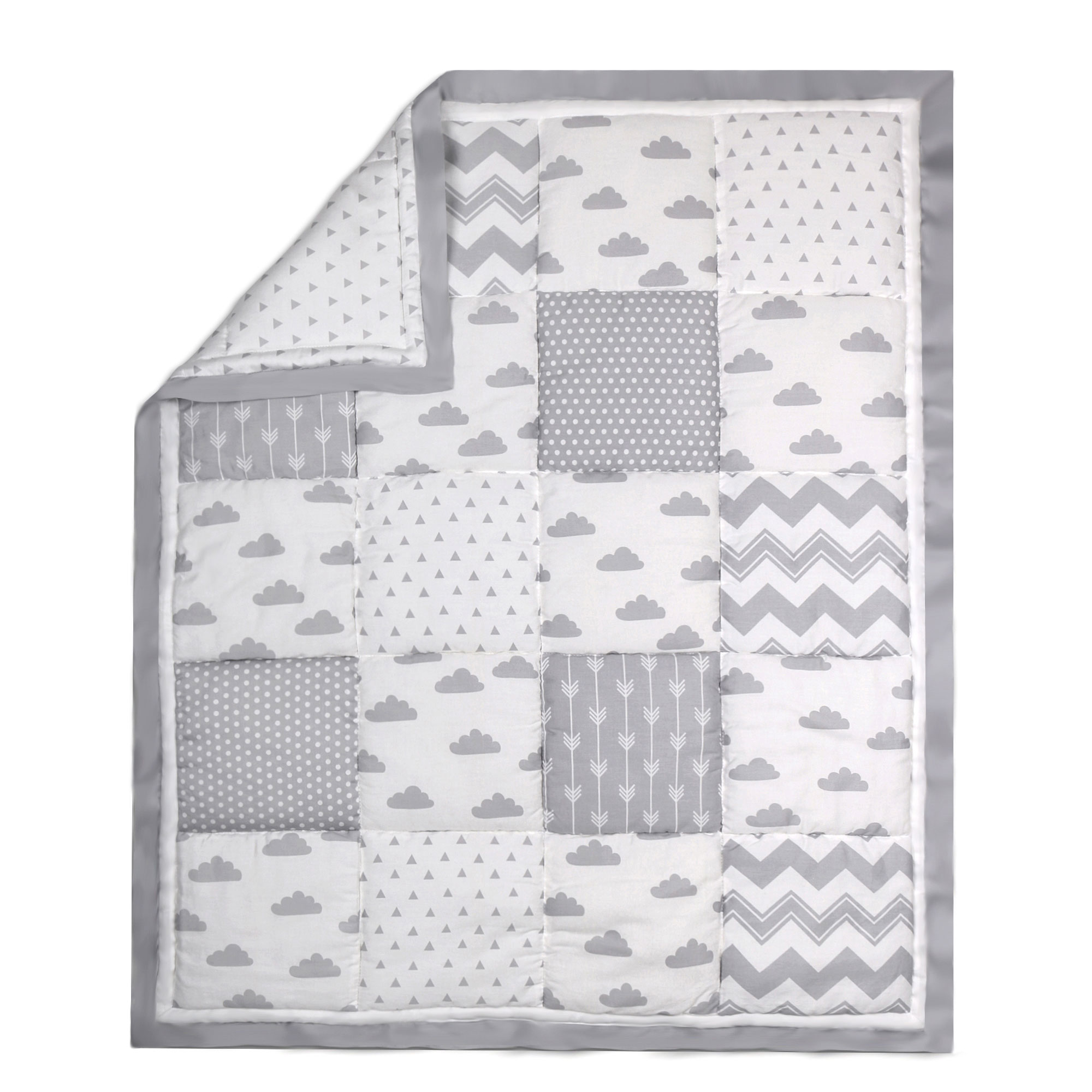 The Peanut Shell Baby Crib Quilt - Grey Geometric, Dot and Zig Zag Patchwork - 100% Cotton Sateen Fabrics, 44 by 37 Inches