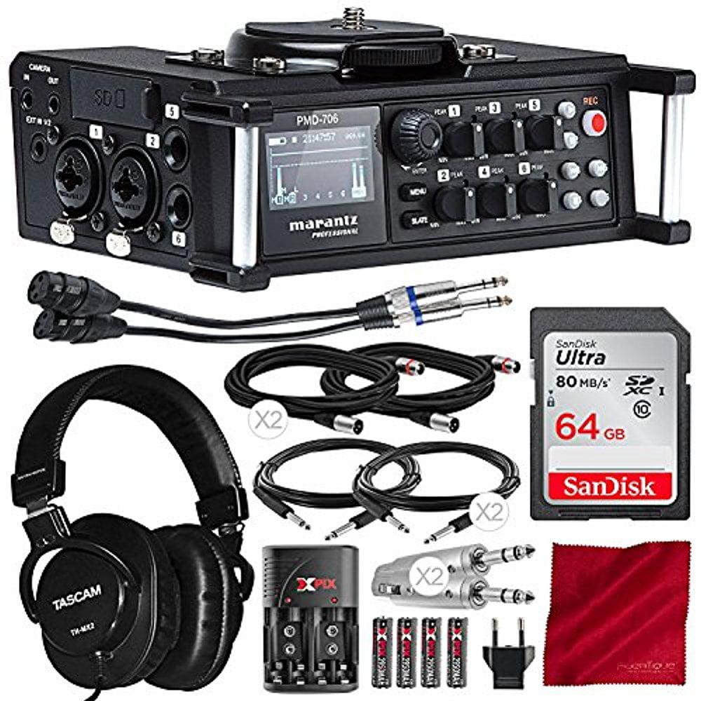 Marantz Professional PMD-706 96kHz 6-Channel DSLR Recorder with Mixing Headphones, 64GB Card, Platinum Accessory Bundle