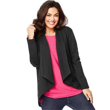 Just My Size OJ312 JMS French Terry Flyaway Cardigan, Black - 4XL - image 1 de 1