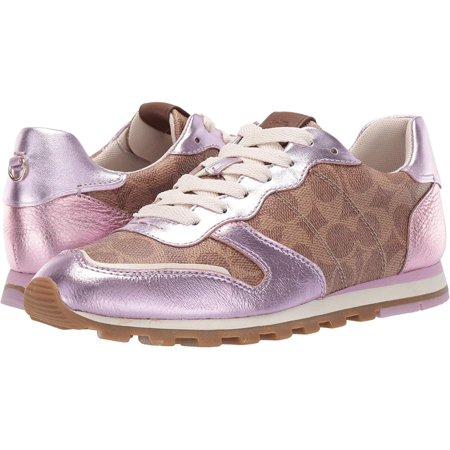 Coach C118 Womens Sneakers Tan, Tan/Pink, Size 8.5