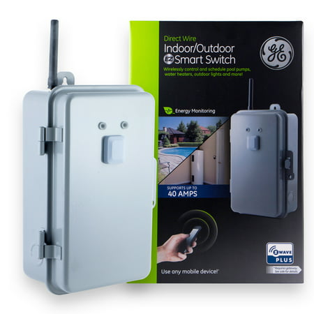 GE Z-Wave Plus Indoor/Outdoor Direct Wire Smart Home Switch, 40 Amp, 14285