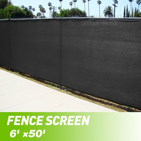 Black 6 X50 Fence Windscreen Privacy Screen Shade Cover