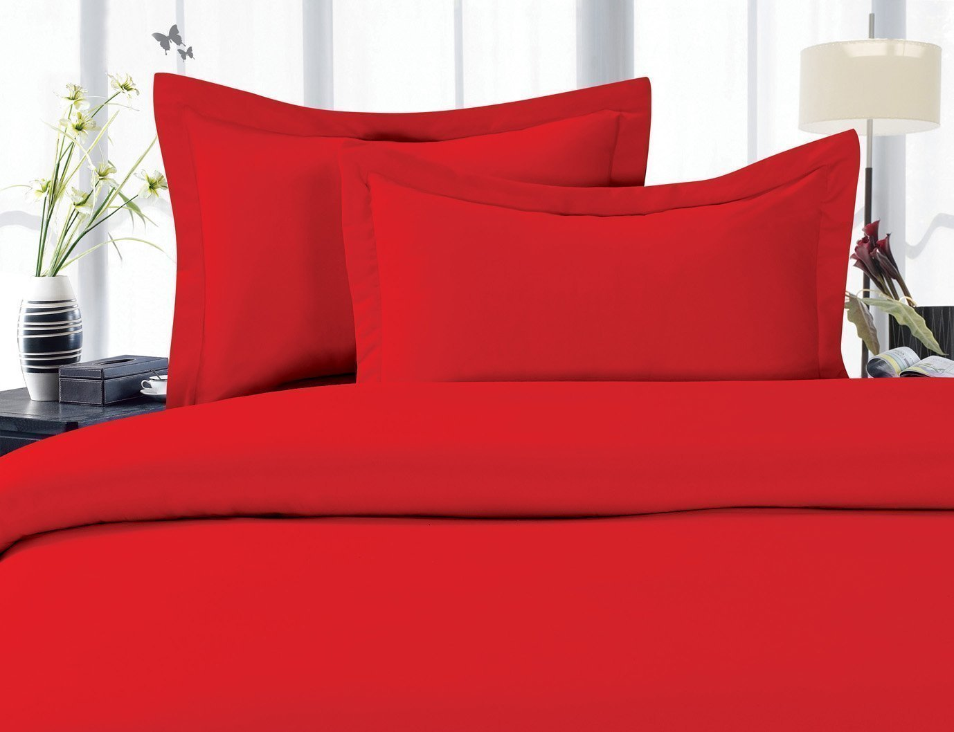Holiday Gift WRINKLE FREE 3 Piece Duvet Cover Set, King/Cali King, Red