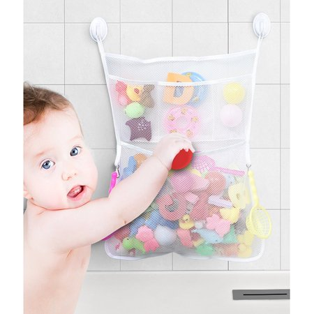IPOW Toddler Bath Toy Storage Divider Baby Bathtub Oraganizer Basket Holder Hanging Mesh Bag with 2 Suction Cup, 20.5 x 15.9in, White