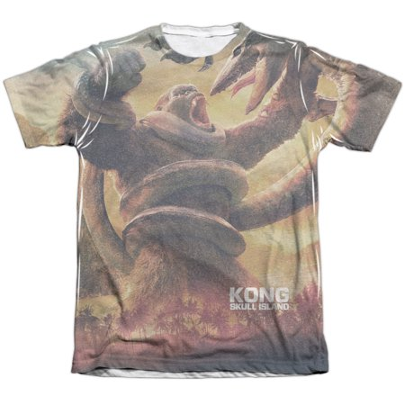 Skull Jungle (Kong Skull Island The Mighty Jungle (Front/Back Print) Mens Sublimation Poly Cotton Shirt )