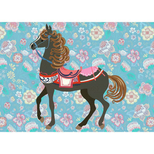 Oopsy Daisy - Floral Filly - Smoky Black Canvas Wall Art 14x10, Pim Pimlada