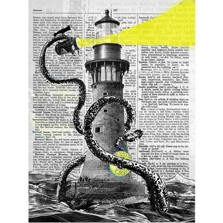 Art N Wordz Lighthouse Kraken Octopus Original Dictionary Sheet Pop Art Wall or Desk Art Print Poster