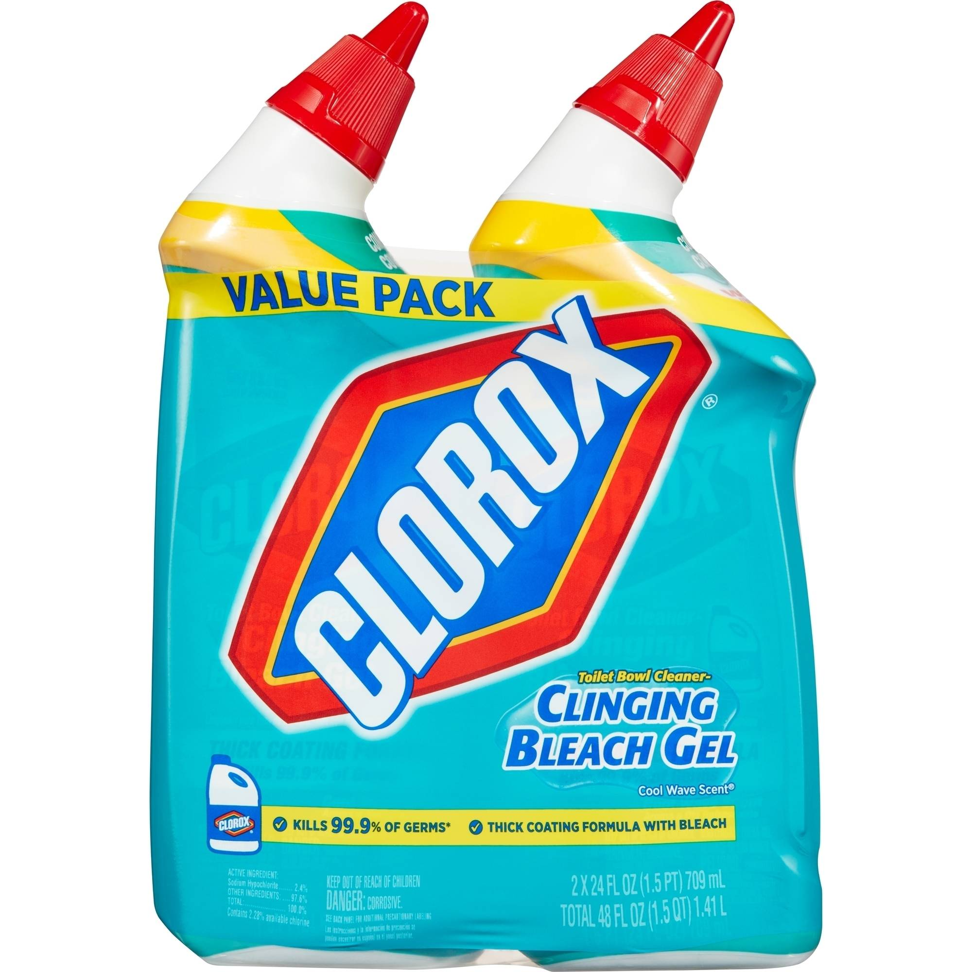 CloroxToilet Bowl Cleaner, Clinging Bleach Gel, 24 Ounces, 2 pack