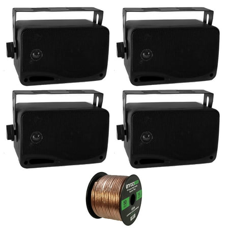 4 x New Pyle PLMR24 3.5'' 200 Watt 3-Way Weather Proof Marine Mini Box Speaker System (Black), and Enrock Audio 16-Gauge 50 Foot Speaker Wire (Weatherproof Mini)