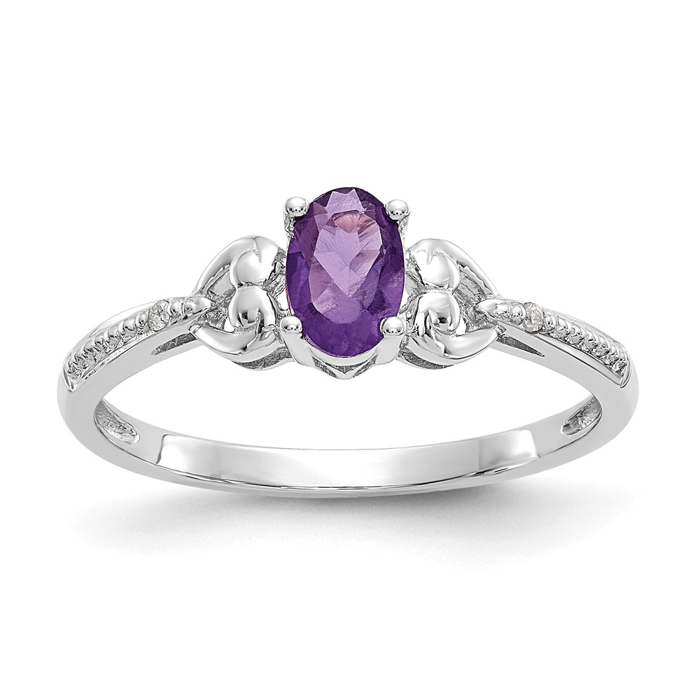 10k White Gold 5x3mm Oval Purple Amethyst Diamond Ring. Gem Wt- 0.45ct
