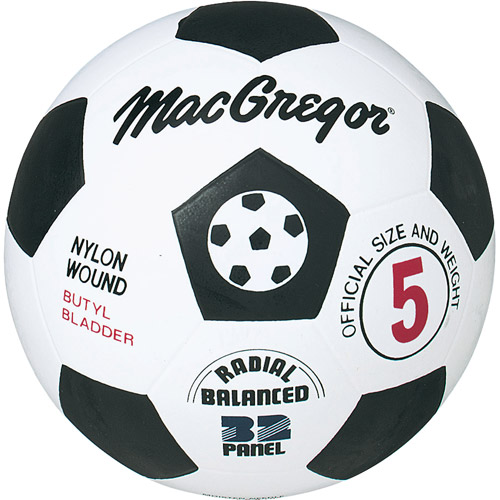 MacGregor® Black and White Rubber Soccer Ball - Size 3