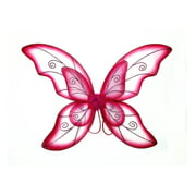"""Mozlly Double Layer Fuchsia Fairy Wings For Adults w/ Garterized Strap 23"""" x 33.25"""" One Size Fits Most Lightweight Vibrant Color Butterfly Fantasy Pixie Princess Party Play Costume Easy to Wear"""