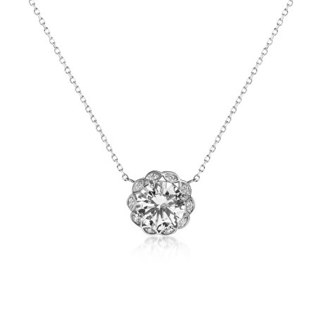 Inspired by You Round Prong Set Cubic Zirconia Antique Style Halo Bridal Pendant on Adjustable Station Necklace for Women in Rhodium Plated 925 Sterling Silver