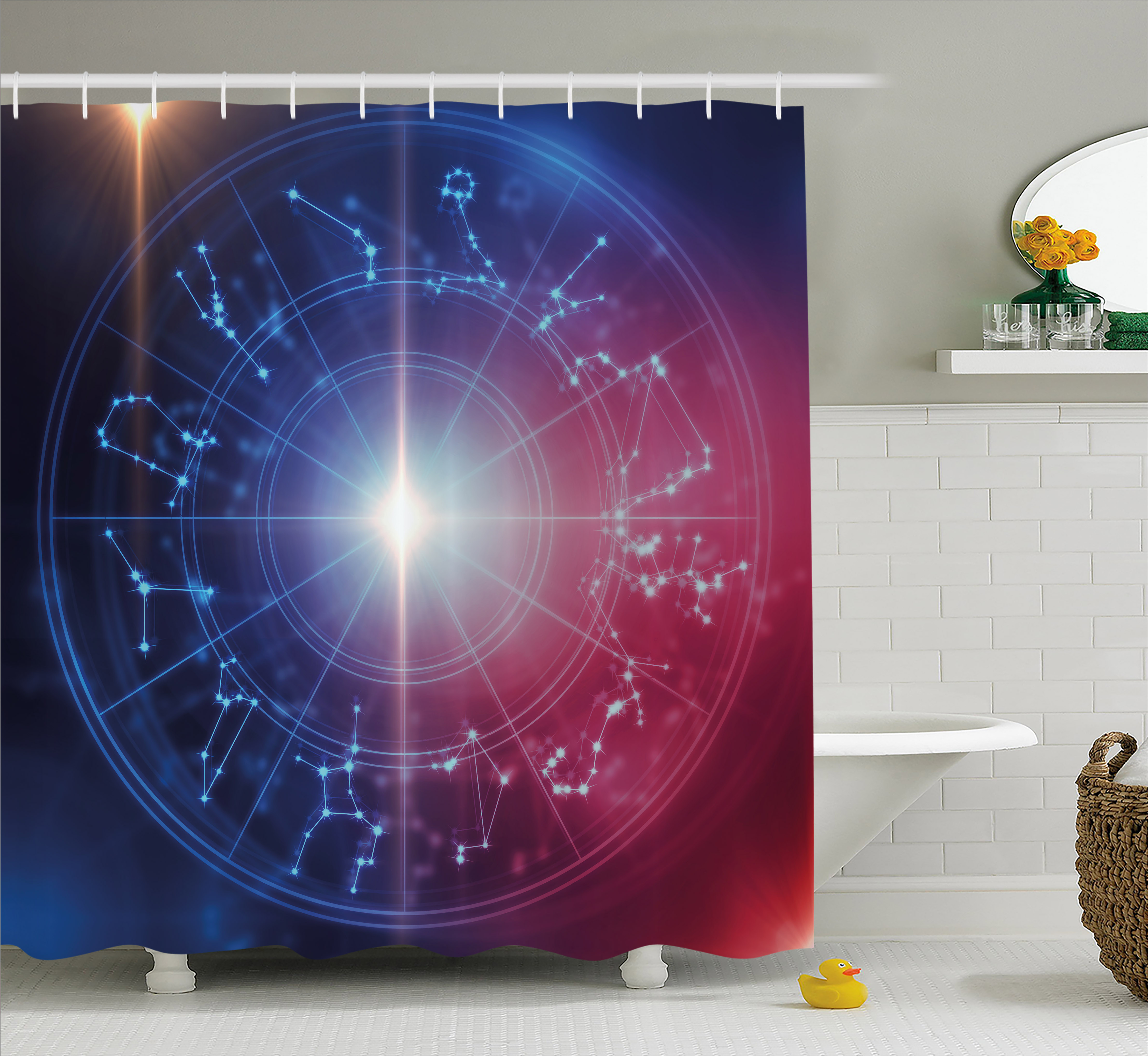 Astrology Shower Curtain, Sacred Horoscope Symbols Geometrical Dots Connected Star Shapes Image, Fabric Bathroom Set with Hooks, 69W X 75L Inches Long, Blue White and Red, by Ambesonne