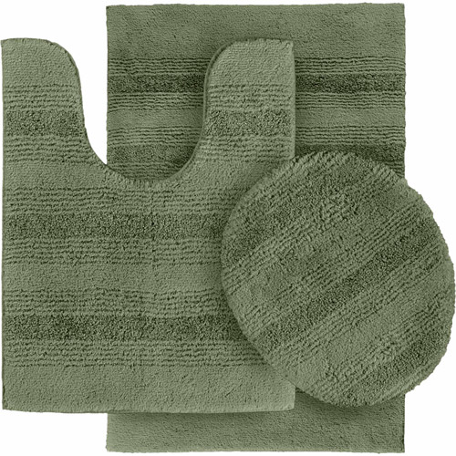 Essence Nylon 3-Piece Washable Bathroom Rug Set