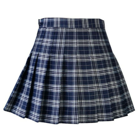 MarinaVida Women's Summer High Waist Pleated Skirt College Style Casual Plaid
