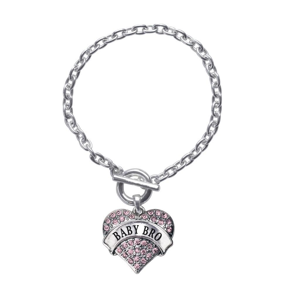 Baby Bro Pink Pave Heart Toggle Bracelet