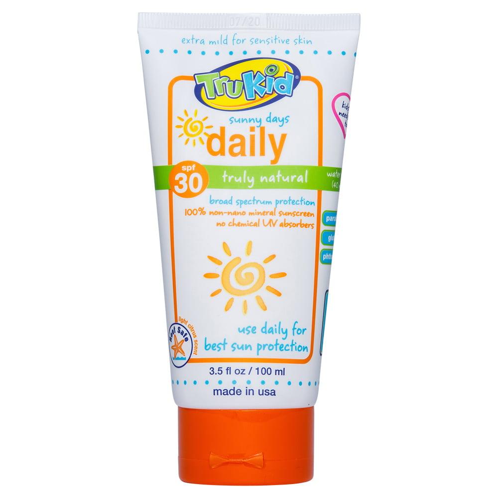 TruKid Sunny Days Daily Natural Sunscreen, SPF 30, 3.5 oz