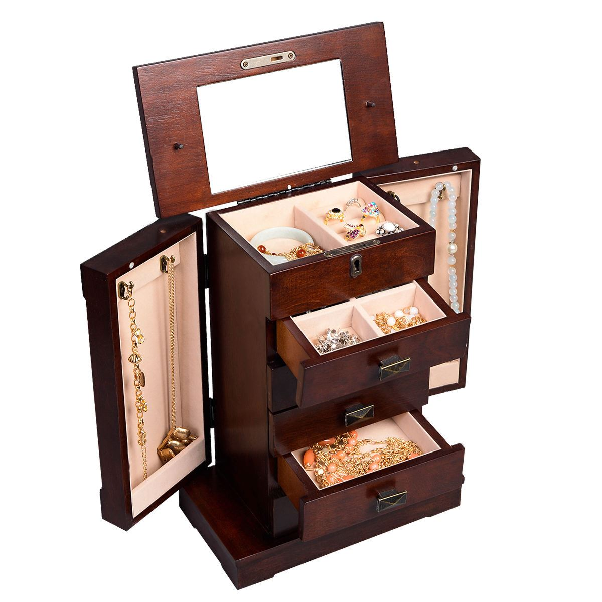 Bon ConvenienceBoutiqueCom   Armoire Wood Jewelry Cabinet Box Storage Stand  Organizer   Walmart.com