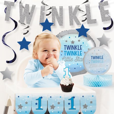 One Little Star Boy 1st Birthday Party Decorations Kit (Boy 1st Birthday Party Supplies)
