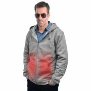 Heated Hoodie Jacket for Men Washable Outerwear Outdoor Fishing Motorcycle Riding Hunting (GREY L)