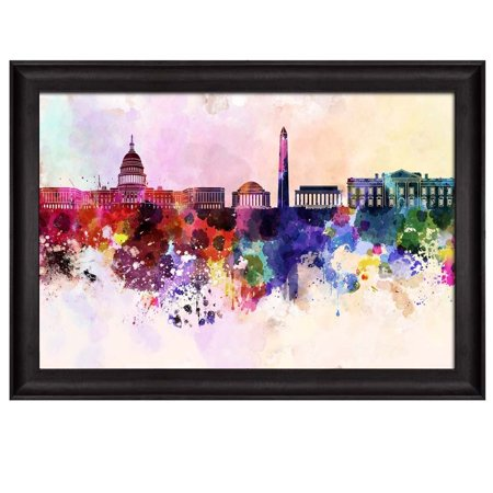 wall26 - Colorful Rainbow Splattered Paint on The City of Washington DC - Framed Art Prints, Home Decor - 24x36 inches (Paint Splatter Clip Art)