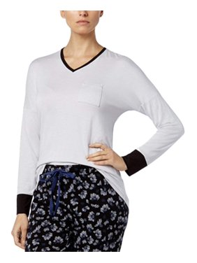 Alfani Women's V-Neck Sleepwear Pajama Top City Silver Size Large