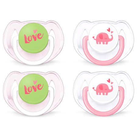 (2 pack) Philips Avent Classic Walmart Deco Pacifier 6-18m, pink elephants, 2 pack, SCF189/25